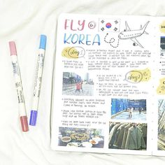 Beautiful travel spreach by @jxuaannn_studies wish I was flying to Korea! #notebooktherapy