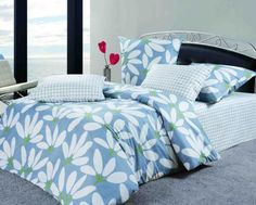 Beautiful Duvet Cover for Elegant Your Bedroom Interior Design: Winsome Blue Pattern Duvet Cover Ideas And Metal Bed Frame On The Blue Carpet Cover The Floor Including Corner Window To Look Out Sea ~ justsoakit.com Bedroom Inspiration