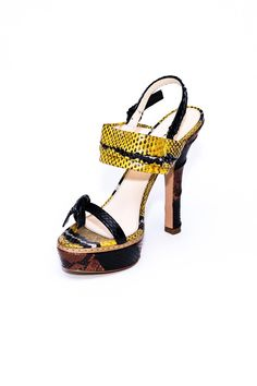 """The perfect summer heels are here! Pair these bright yellow snake skin shoes with jeans or a nice pencil skirt and you are ready for the day or night!    Heel Height: 4""""   Yellow Platform Heels by Prada. Shoes - Pumps & Heels - High Heel Shoes - Pumps & Heels - Pumps Florida"""