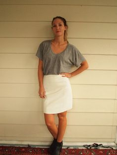 White Leather Skirt by SelvedgeandSew on Etsy