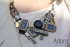 Necklace made out of watches. #JewellerySteetStyle #JewelleryTrends #JewelryTrends #jewelleryoftheday #jewelryoftheday #Jewellery #Jewelry #trends #Adorn #AdornLondon #MilanFashionWeek