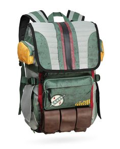 This backpack is loaded with room to store all your Mandalorian loot. A big main compartment, a padded laptop sleeve AND an additional tablet sleeve, leather-look pouches for all your thermal detonators - it all adds up to one very useful bag.