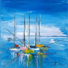 Nautical Painting, Sailboat Painting, Easy Watercolor, Watercolor Paintings, Sailboat Art, Sailboats, Art Bleu, Palette Knife Painting, Sea Art