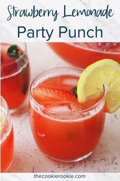 Strawberry Lemonade Party Punch is a fun summer punch recipe to enjoy on hot days. This alcoholic party punch is made with Everclear, giving it the perfect kick for parties. It's such a refreshing fla Summer Punch Recipes, Party Punch Recipes, Adult Punch Recipes, Spiked Punch Recipes, Wedding Punch Recipes, Winter Drink, Alcohol Drink Recipes, Alcoholic Punch Recipes Vodka, Party Drinks Alcohol