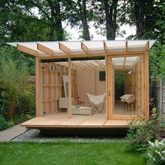 Garden shed with see-through roof