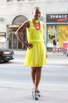 cute coloured necklaces with bright yellow dress ANITA_CLARKE Toronto Street, Style Snaps, Zara Dresses, Everyday Look, Yellow Dress, Different Styles, Vintage Inspired, Natural Hair Styles, Street Style