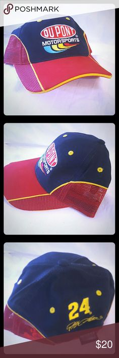 DuPont Motor sports Jeff Gordon 24 Racing Cap Well designed hat with superior embroidered team/sponsor/driver graphics and adjustable closure for a comfortable fit.  Condition: Very Good  Style: Baseball Cap Material: 100% Cotton Size: One Size Fits Most For: Adults- Men/Women/Unisex Brand: Chase Authentics - Drivers   Shows signs of wear  100% Satisfaction with us   Items are shipped within 1 business day & shipped with care   Please review all pictures and descriptions to verify what you…