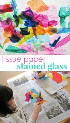 Tissue Paper Stained Glass Craft Project for Kids Craft Projects For Kids, Crafts To Do, Art Projects, Arts And Crafts, Kids Crafts, Craft Ideas, Crafts Cheap, Tissue Paper Art, Wax Paper Crafts