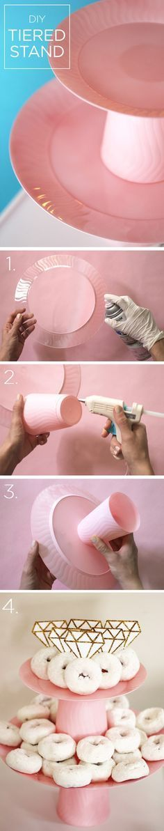 Faça seu próprio suporte de comidinhas! Cores pastéis dão o toque feminino.