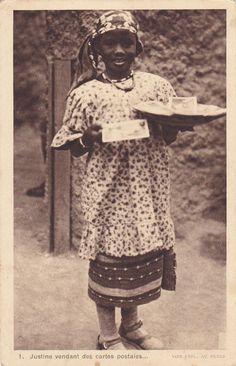 LYON , France,1914; Native Girl selling postcards, Pavillon de l´A.O.F. de l´Exp