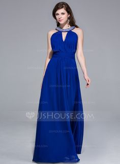 Evening Dresses - $135.99 - A-Line/Princess Scoop Neck Floor-Length Chiffon Evening Dress With Ruffle Beading (017025689) http://jjshouse.com/A-Line-Princess-Scoop-Neck-Floor-Length-Chiffon-Evening-Dress-With-Ruffle-Beading-017025689-g25689