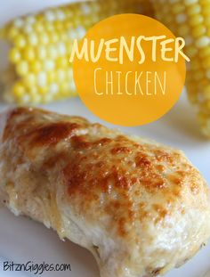 Muenster Chicken - Oven-baked chicken breasts dredged in bread crumbs, covered with a creamy Muenster cheese and infused with a subtle hint of white wine. #chicken #muenster