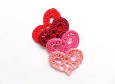Crocheted hearts applique red Valentines day by eljuks on Etsy, $4.00