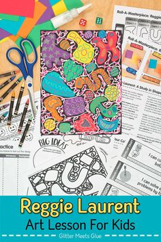 Need a fun Reggie Laurent collage lesson for elementary art? Roll & draw games motivate kids to learn art history. Teach shape, pattern, and abstract art! Art Games For Kids, Art Lessons For Kids, Art Sub Plans, Art Lesson Plans, Art History Lessons, Habits Of Mind, Glue Art, Arts Integration, Learn Art