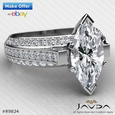 Gleaming Marquise Diamond Vintage Pave Engagement Ring GIA F VS2 Platinum 2.4 ct