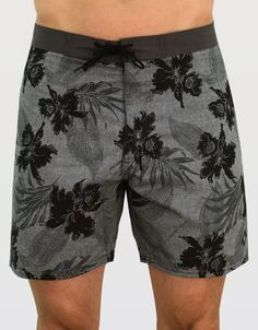 Zissou Trunk : Dark, hawaiian print boardshorts. Hand drawn and designed in house by our Tankfarm design team.  16 inch outseam, 100% Polyester and Made in the U.S.A.