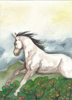Original Watercolor Horse Painting   Dream Horse by bluedogrose, $99.00