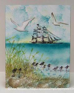 Wishing You a Beautiful Day Seaside card...blank by Sylviascorner