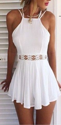 White Spaghetti Strap Halter Open Back Cut Out Lace Waist Pleated Short Prom Dress 0930 - vestidos - Summer Dress Outfits Summer Outfit For Teen Girls, Cute Outfits For Summer, Teen Summer, Summer Fashion For Teens, Casual Outfits For Teens Summer, Casual Summer, Summer Wear, Party Outfit Summer, Summer Outfits For Vacation