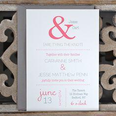 Wedding Invitations / Wedding Invitation  - Ampersand Wedding Invite. $2.50, via Etsy.