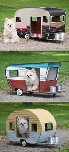 Get inspired by our collection of the most adorable dog houses that your best friend would love! Anything from simple little dog huts to luxury dog houses! Cute Puppies, Cute Dogs, Dogs And Puppies, Cute Dog Stuff, Doggies, Cute Small Dogs, Pet Trailer, Yorshire Terrier, Dog Milk