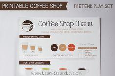 Printable Pretend Play Coffee Shop from LearnCreateLove.com