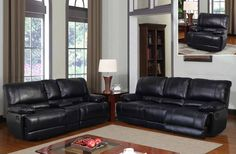 This Slate Bonded Leather Reclining Sofa & Reclining Loveseat Set from Global Furniture USA is sure to add some elegance and comfort to any living room space.   Features rich bonded leather, 2 reclining seats on sofa, 2 reclining seats on loveseat, loveseat features storage console and cup holders.  Available at www.furnitureurban.com