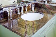 Bathroom vanity in Rainforest Green granite with Eased edges. Green Granite Countertops, Marble Interior, Interior Design, Granite Bathroom, Green Marble, Home Decor Online, Home Photo, Modern Bathroom, Bathroom Ideas