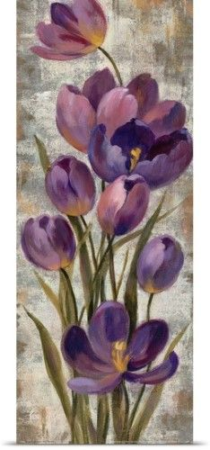 Silvia Vassileva Poster Print Wall Art Print entitled Royal Purple Tulips I Crop, None