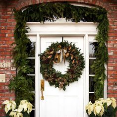 If you live in a temperate climate, you might be able to make front door decorations with seasonal flower displays, such as poinsettias: http://www.bhg.com/christmas/outdoor-decorations/front-door-christmas-decorating-ideas/?socsrc=bhgpin112514addfreshorfauxflowers&page=7