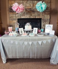 Gender Reveal Party Matching Supplies-cupcake topper, labels, sign, banner, baby name suggestion. $35.00, via Etsy.
