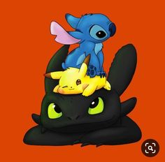 Stitch, Pikachu and Toothless - Pokemon about you searching for. Cute Disney Drawings, Cute Animal Drawings, Kawaii Drawings, Cartoon Drawings, Cute Drawings, Kawaii Disney, Pikachu Pikachu, O Pokemon, Pokemon Fusion