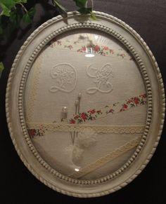 """Grand Cadre ovale à verre bombé romantique patiné """"ton pierre""""/ ENVOI OFFERT : Décorations murales par kaline-et-tresors"""