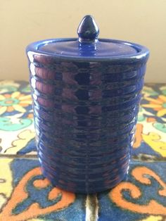 Bauer Pottery Los Angeles Cal. Super Rare Blue Cigarette Jar With Original Lid