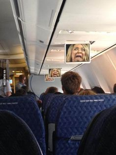 Flight attendant announcement froze this on the TVs and terrified the entire cabin