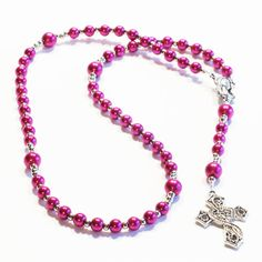 Check out FUCHSIA Handcrafted Catholic Saints Rosary Necklace Beaded Chain on dunglebees