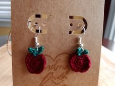 Free Crochet Pattern: Teeny Apple Earrings ~ Crochet Cauldron