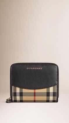 Black Horseferry Check and Leather Small Ziparound Wallet - Image 1