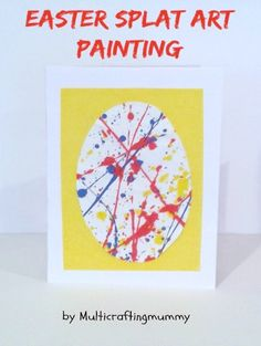 Enjoy a messy splat painting session with your kids to explore the work of Jackson Pollock and then turn your own artwork into Easter cards.