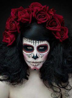 Day of the dead. Dia de Los Muertos. Sugar skull makeup.  #roses #orange #cream #green #red #pink #dusty #vintage #bouquet #posy #lace #ribbon #wedding #beautiful #decor #rosewedding  For more wedding love: www.fb.com/labolaweddings twitter.com/Lala4e_Labola