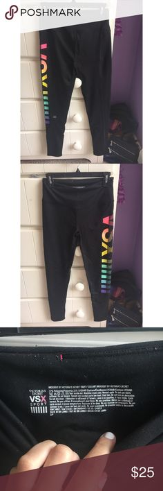 Victoria's Secret Sport women's leggings, size S Black Victoria's Secret Sport leggings with rainbow VSX and stripe accents down left leg. Size small. Extremely comfortable, stretchy and soft. Great for working out. Not see-through whatsoever. Worn a handful of times. Only getting rid of these because I have too many pairs of leggings! Victoria's Secret Pants Leggings