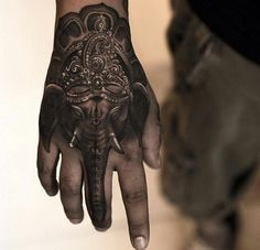 Cool Tattoo India Tattoo Hand Tatuaje Mano Elefant God