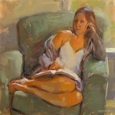 """Tahni With a Book"" - Original Fine Art for Sale - © Carol Marine"