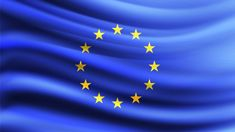 European union flag blowing in the wind. Blowing Wind, Union Flags, Vector Photo, Background Banner, Vector Background, Herb, Liverpool, Portugal, Spain