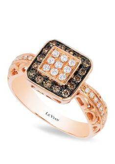 c7704245fada75 Le Vian Women 1/8 Ct. T.W. Chocolate Diamonds And 1/8 Ct. T.W. Vanilla Diamonds  Ring In 14K Strawberry Gold - Strawberry Gold - 7