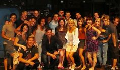"""The cast of """"American Idiot"""" with """"The Real Housewives of Orange County's"""" Gretchen Rossi and her boyfriend Slade Smiley at Segerstrom Hall."""