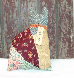 Antique Cat Pillow Crazy Quilt Calico Grain Sack Vintage Sitter Basket Tuck