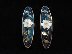 Blue and White Silver Plated Abalone Pair of Hair Clips  #UpstreamTradingCompany