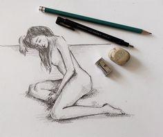 Female figure pencil sketch by Erika Lancaster