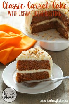 This Classic Carrot Cake with Cream Cheese Frosting is a simple and delicious recipe that anyone can make and everyone will love! Hungry for more? Follow me! Like my page on Facebook!  Subscribe! Click here to get free recipes by email! When I was a kid you couldn't pay me to eat carrot cake....